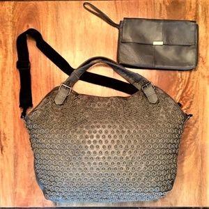 NWOT Nicole Lee Grey zip Tote Bag & Leather Wallet